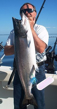 trophy lake michigan king salmon