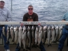 trophy catch of salmon and trout on lake michigan